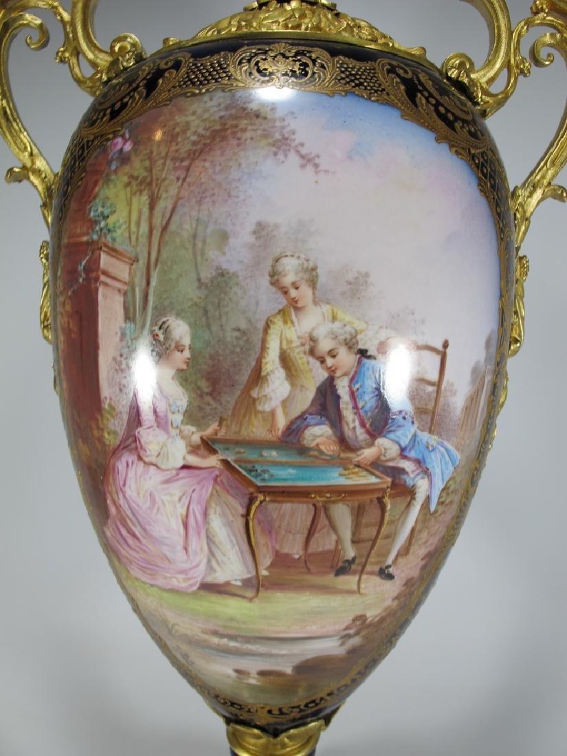 Antique French Sevres porcelain & bronze urn - 3