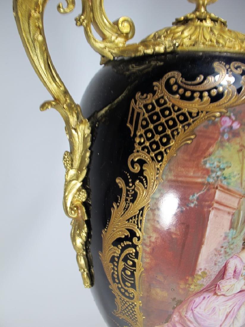 Antique French Sevres porcelain & bronze urn - 4