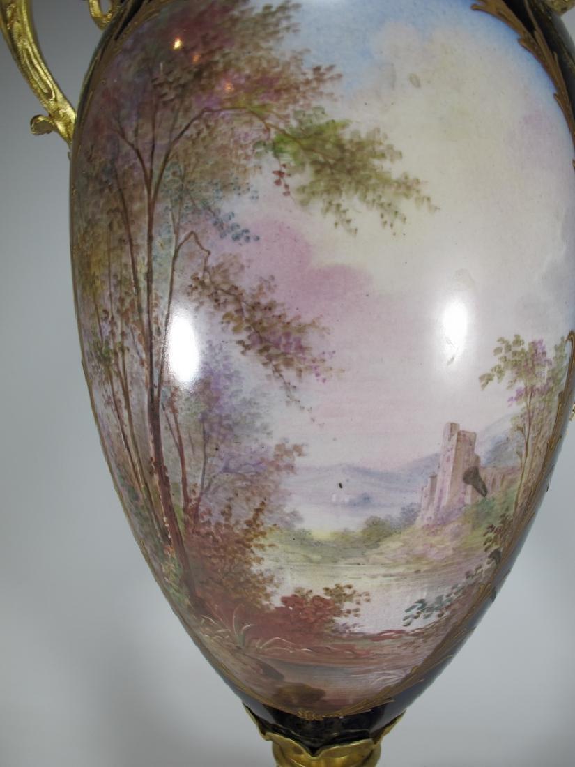 Antique French Sevres porcelain & bronze urn - 8