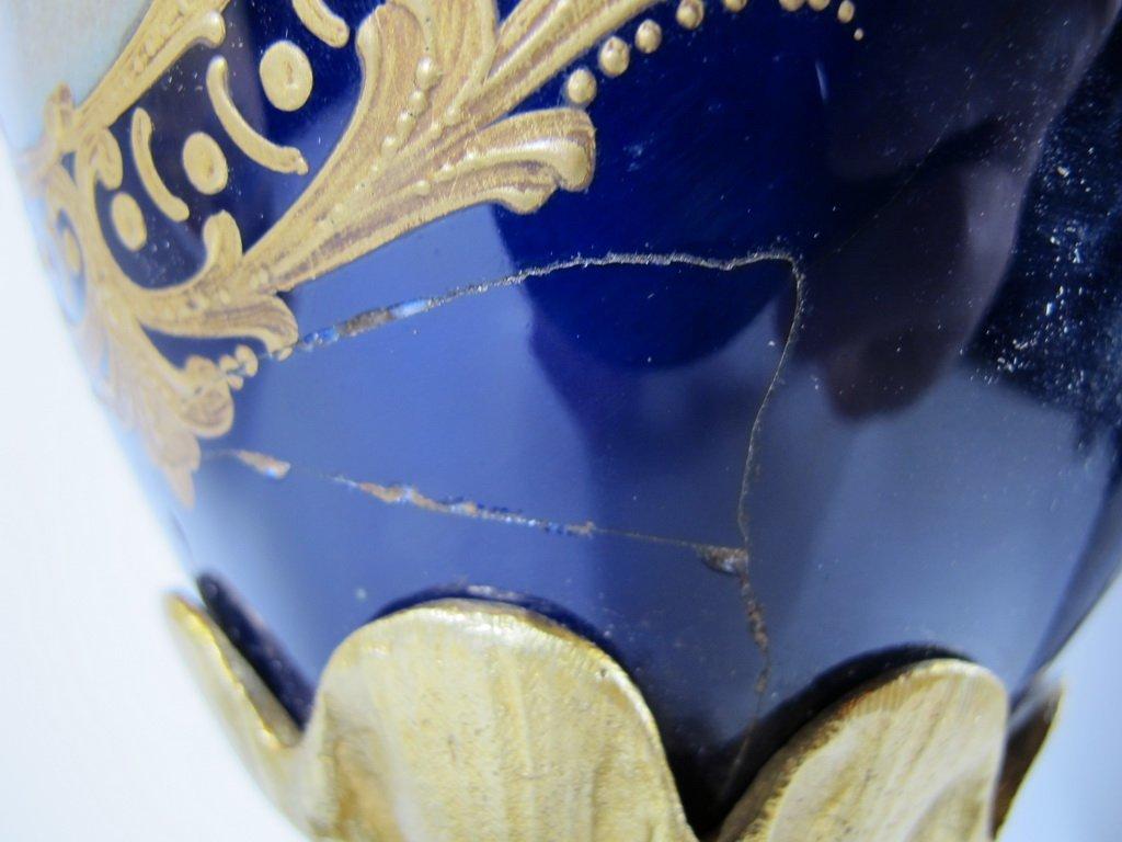 Antique French Sevres porcelain & bronze urn - 9