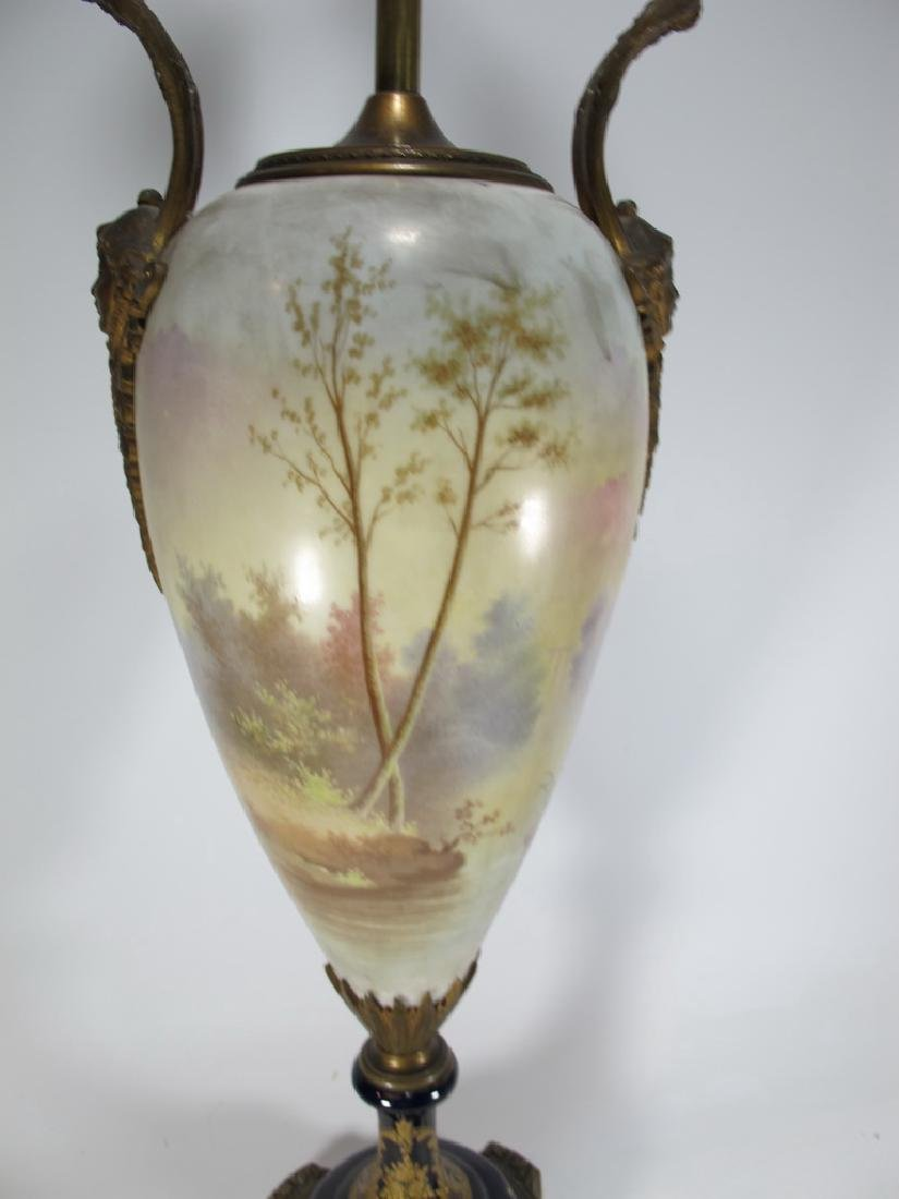 Antique French Sevres style porcelain & bronze lamp - 7