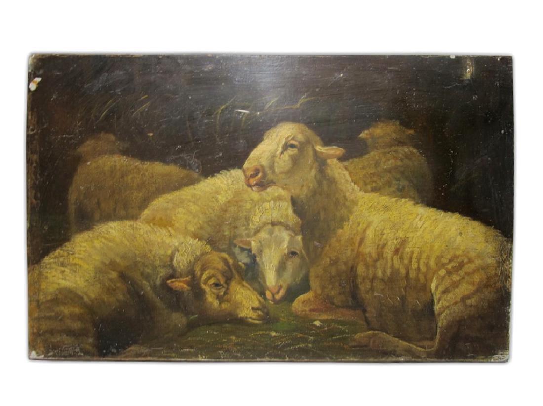 19th C European oil on wood painting