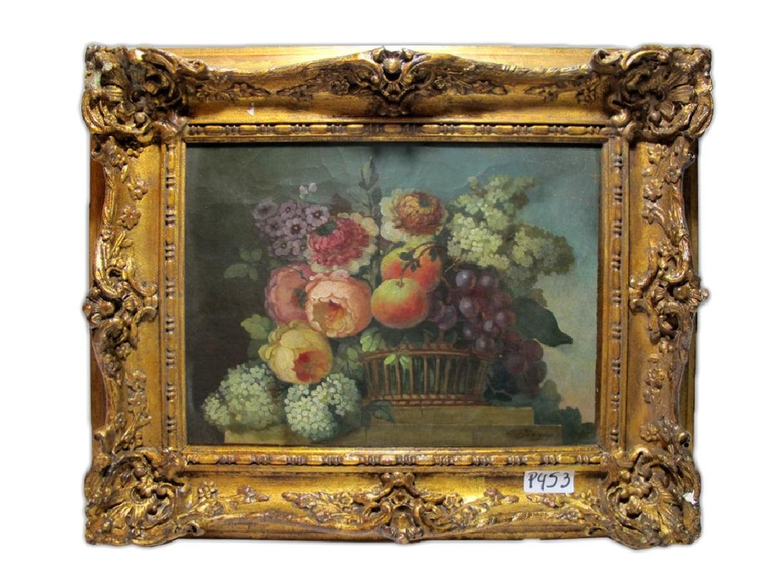19th C European oil on canvas flowers painting