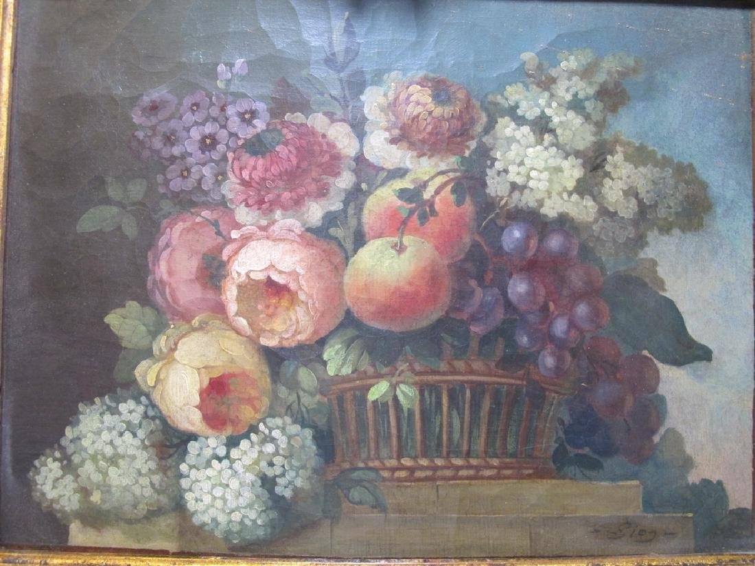 19th C European oil on canvas flowers painting - 2