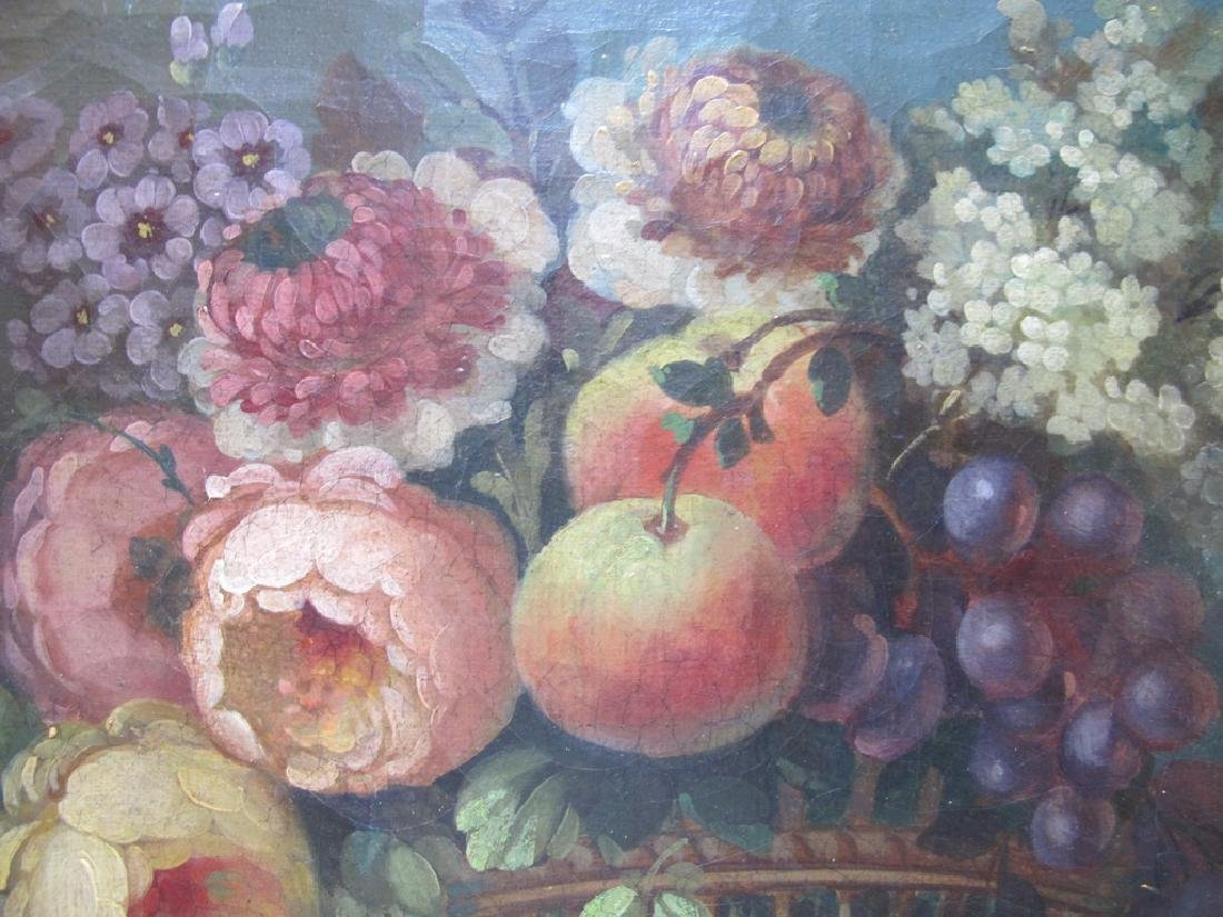 19th C European oil on canvas flowers painting - 4