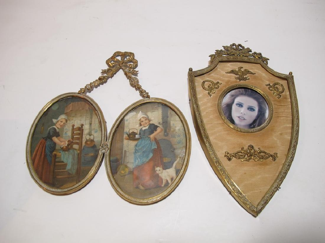 2 antique French bronze picture frames