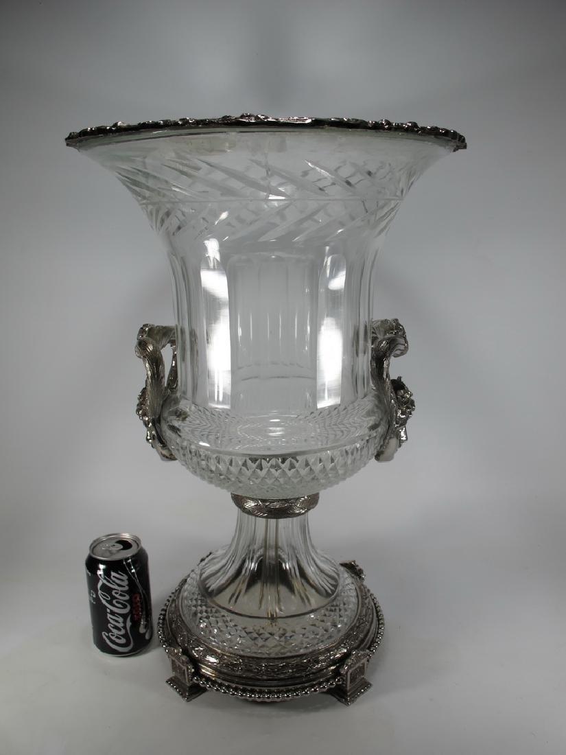 Marked Baccarat huge glass & bronze urn