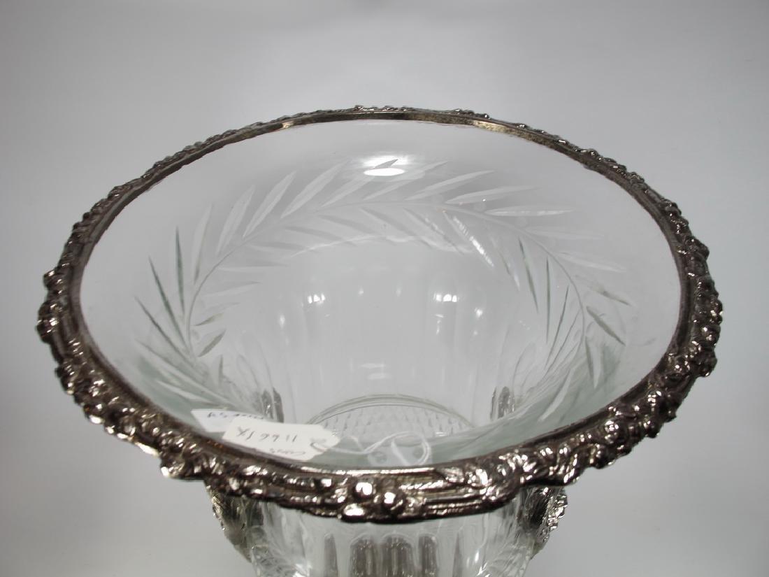 Marked Baccarat huge glass & bronze urn - 2