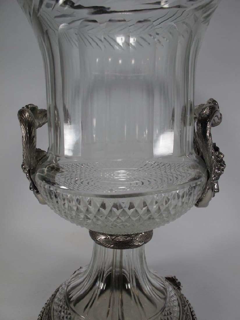 Marked Baccarat huge glass & bronze urn - 3