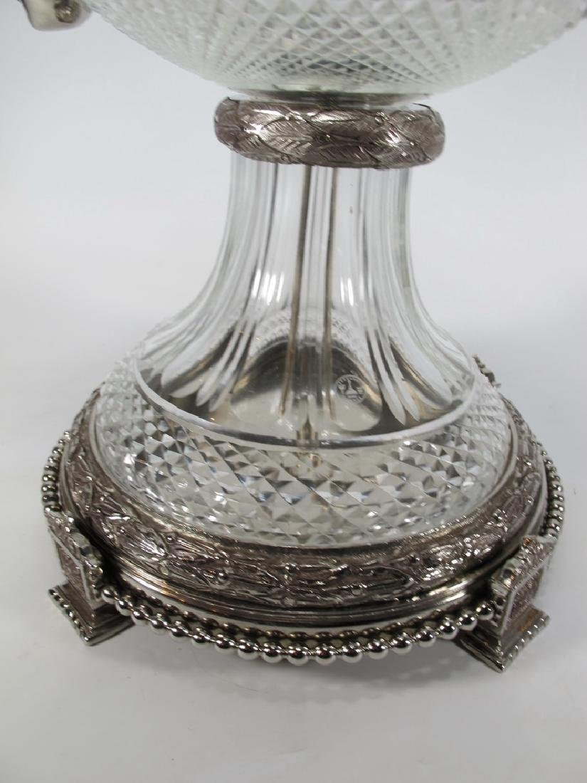 Marked Baccarat huge glass & bronze urn - 4