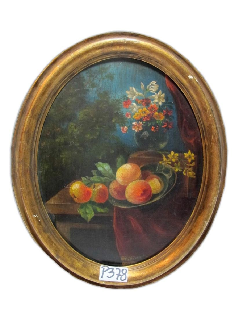 Antique European oil on wood flowers painting