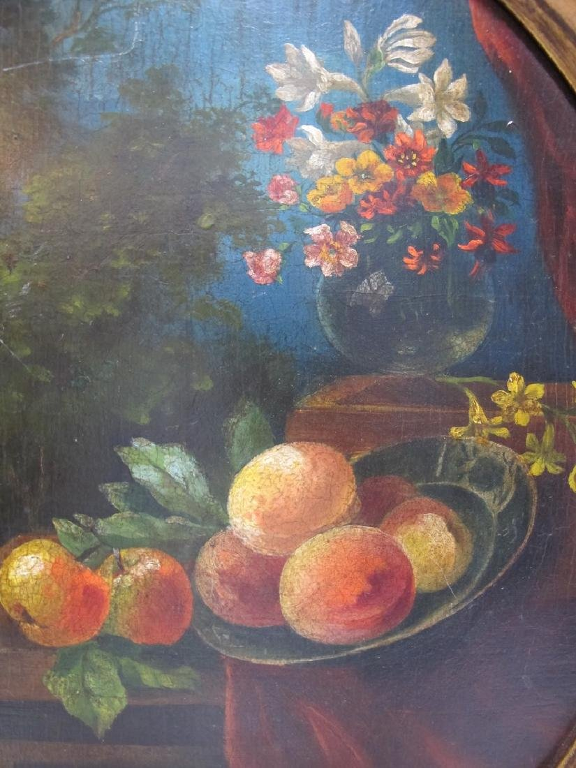 Antique European oil on wood flowers painting - 2