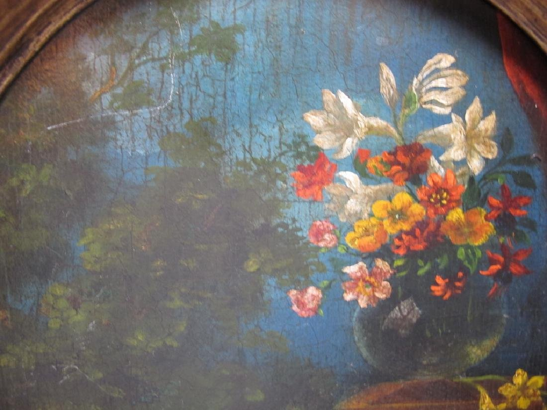 Antique European oil on wood flowers painting - 3