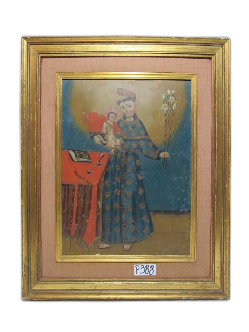 Antique European oil on metal Religious painting