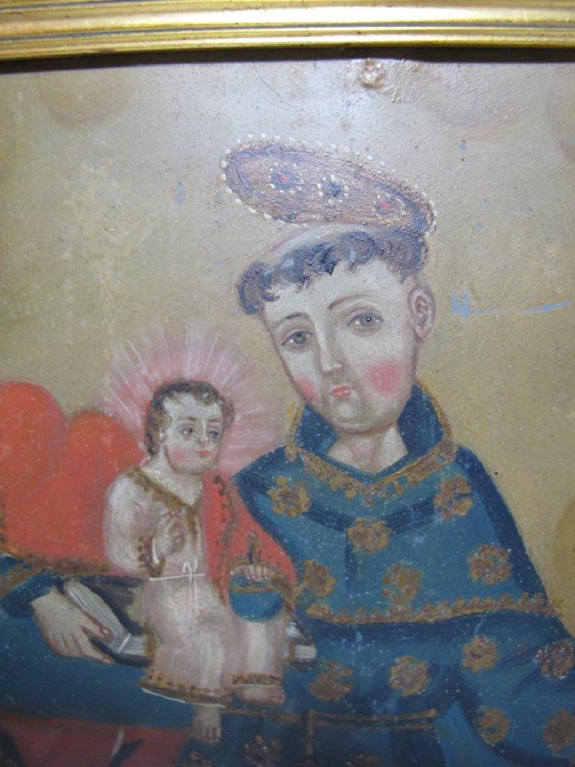 Antique European oil on metal Religious painting - 3