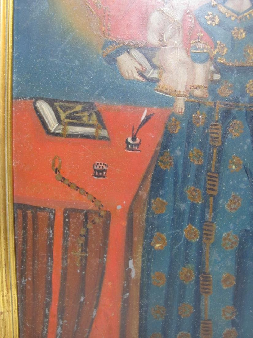 Antique European oil on metal Religious painting - 4