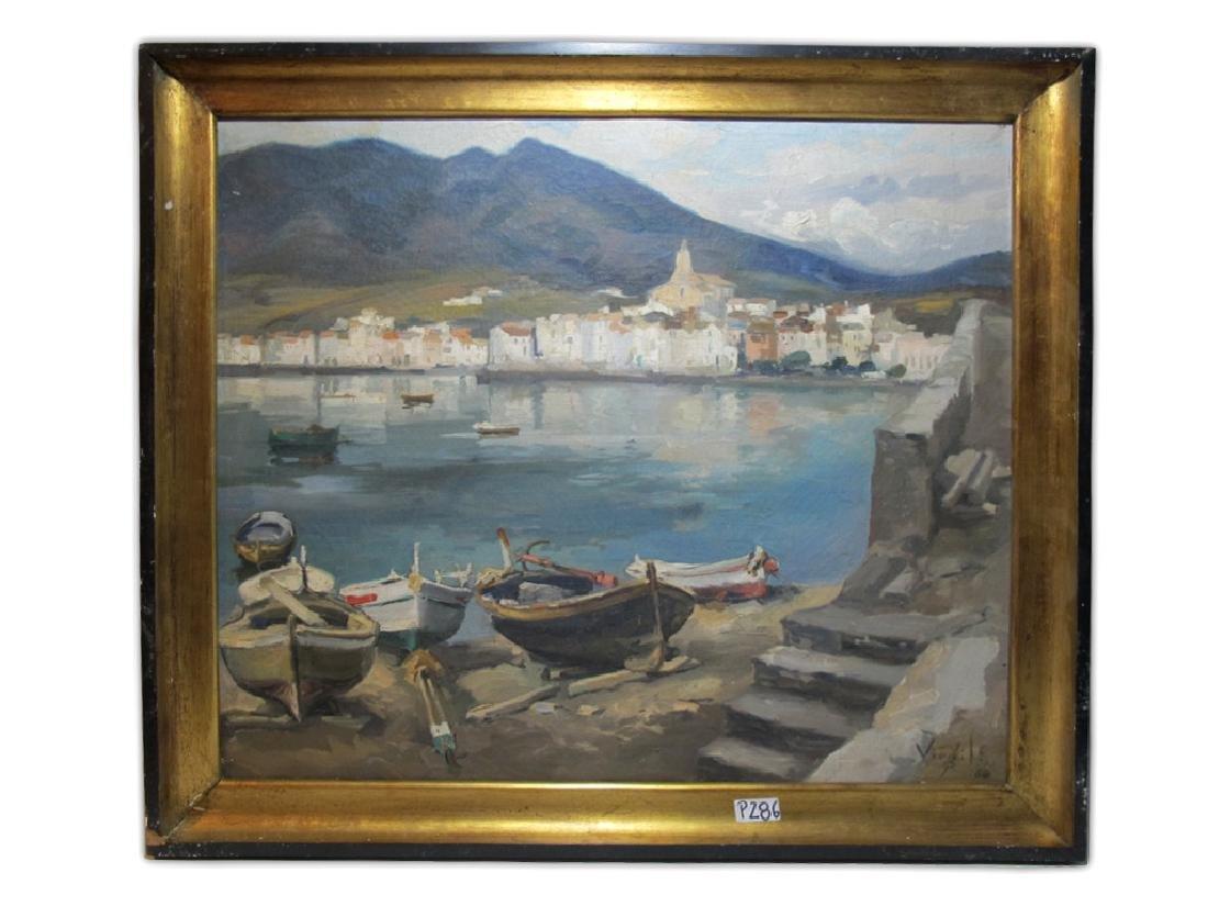 European oil on canvas lakeview painting, signed