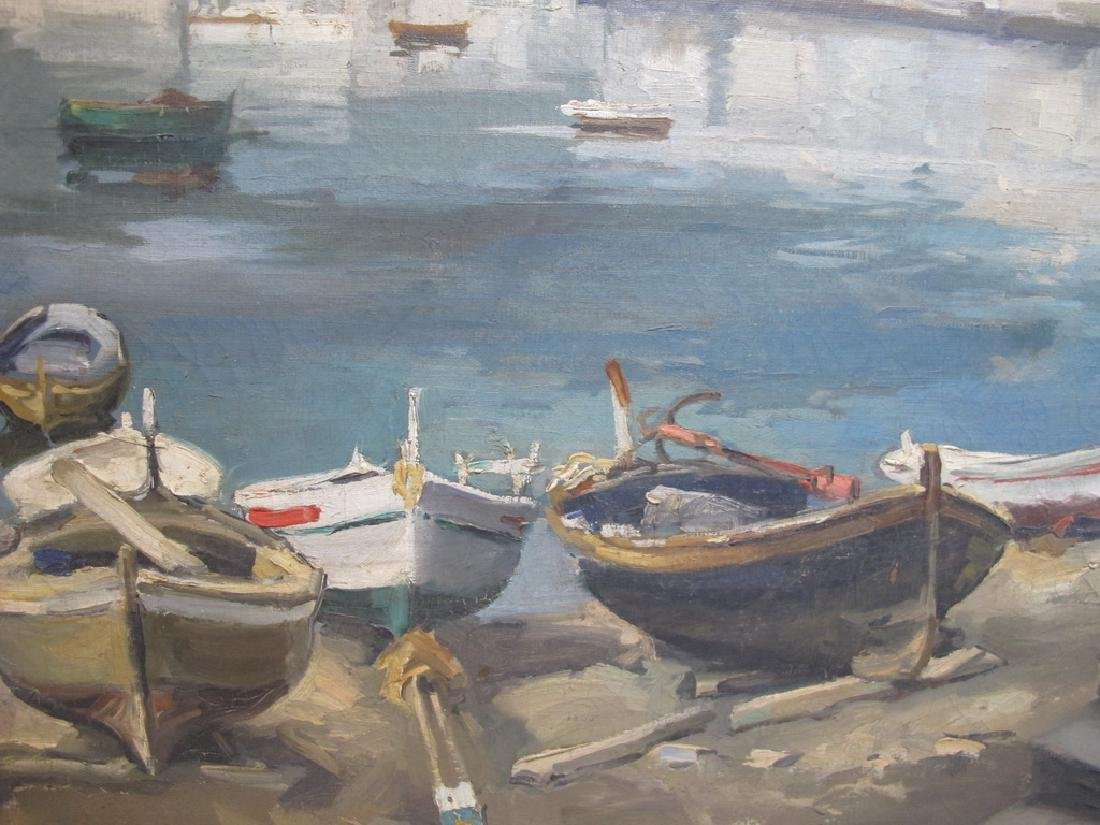 European oil on canvas lakeview painting, signed - 4