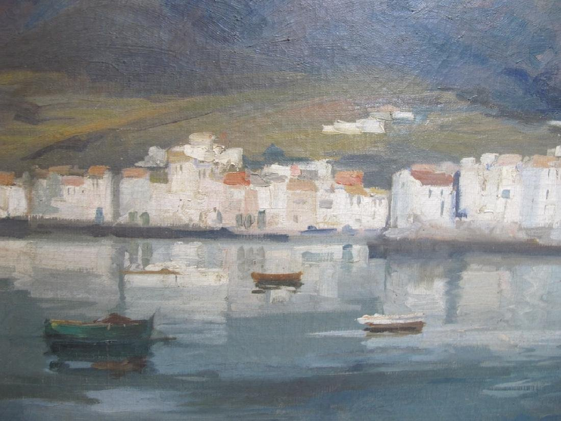 European oil on canvas lakeview painting, signed - 5