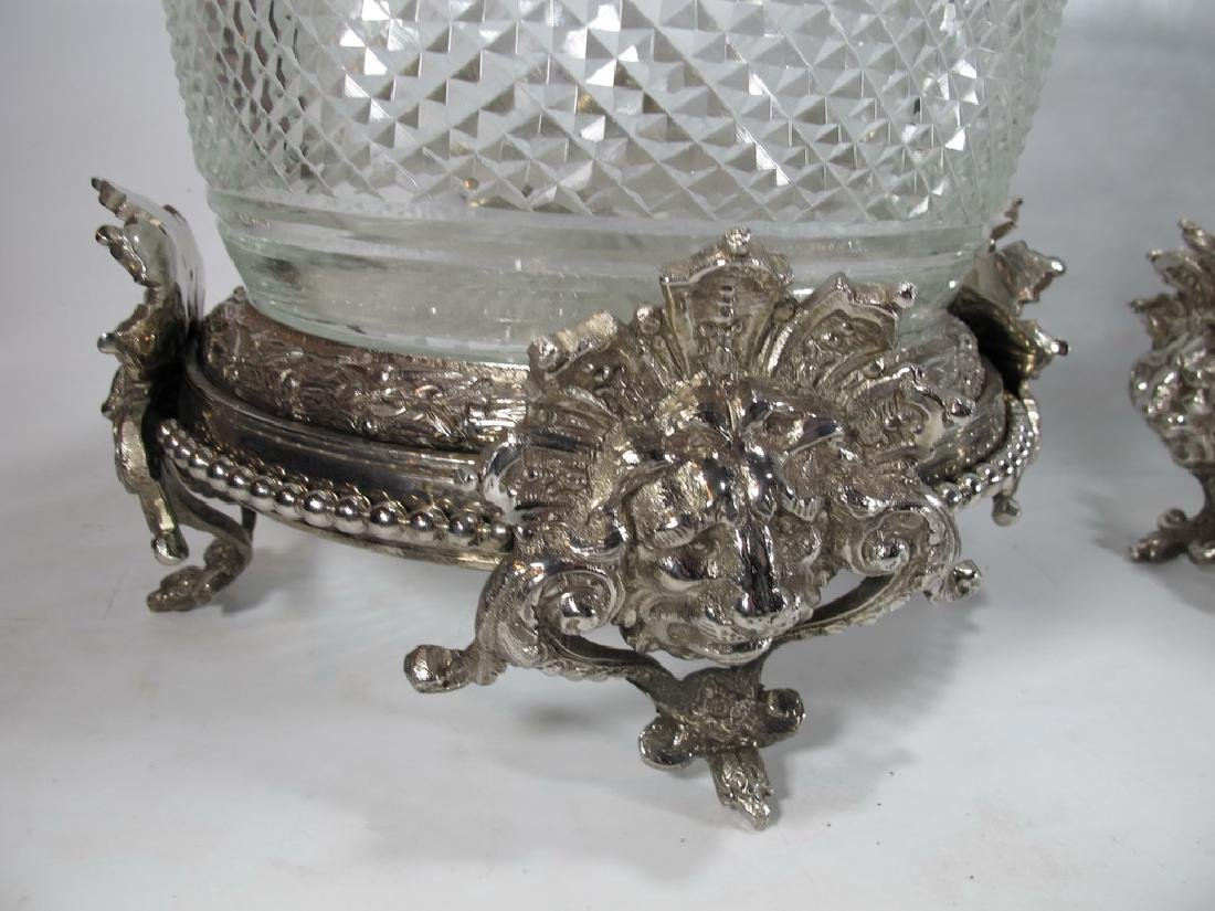 Signed Baccarat pair of glass & silverplated bronze - 4