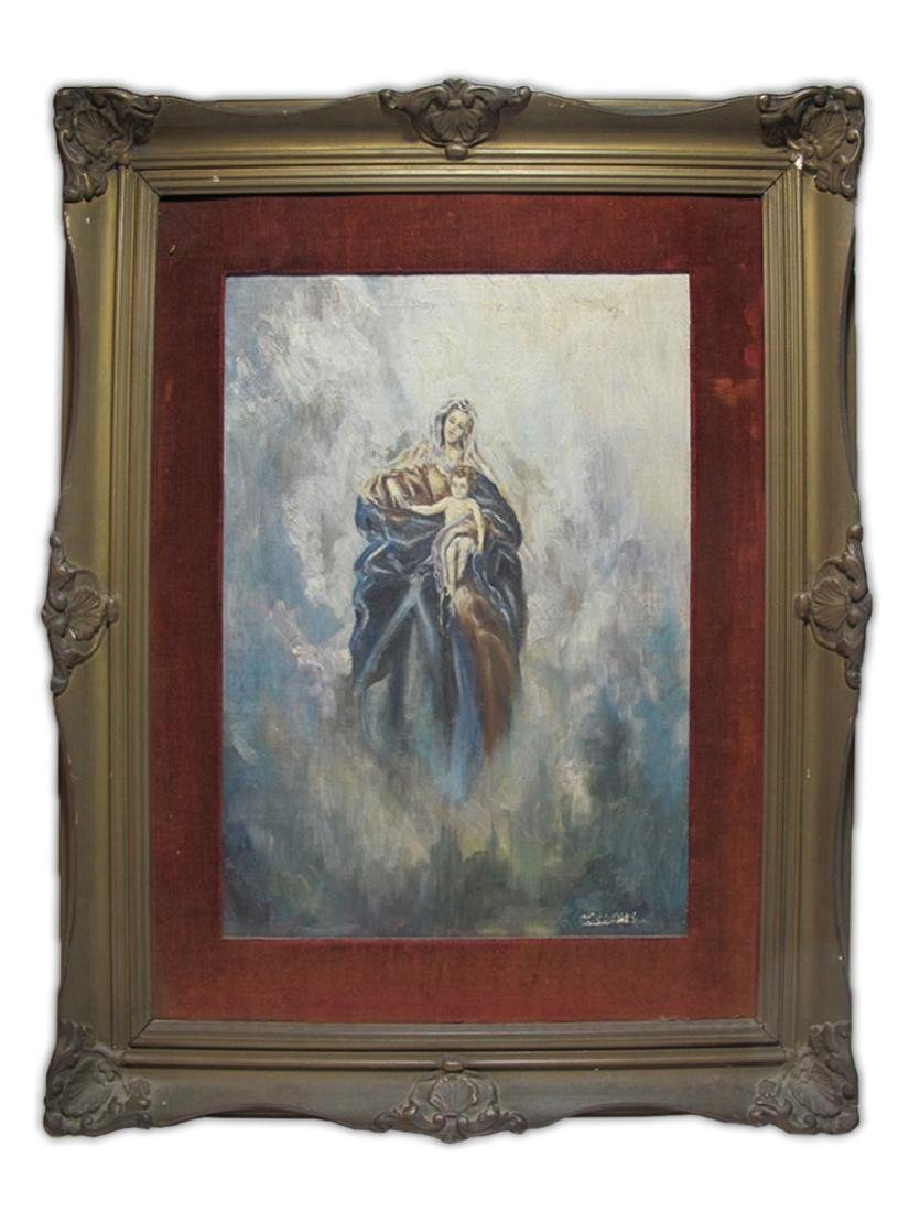 Antique oil on board Religious painting, signed