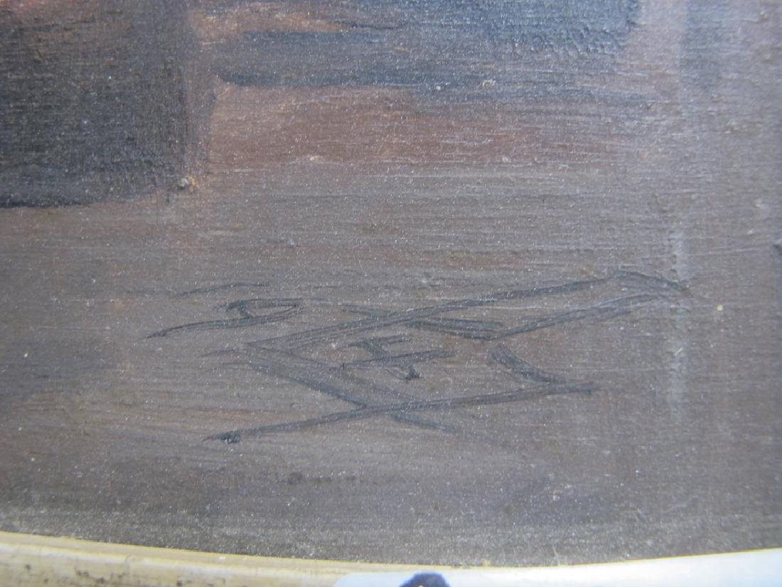 Antique European oil on wood painting, signed - 3