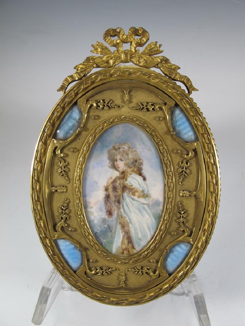 Antique French bronze & enamel miniature painting &