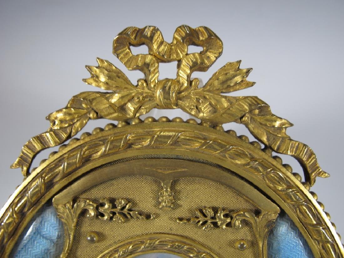 Antique French bronze & enamel miniature painting & - 3
