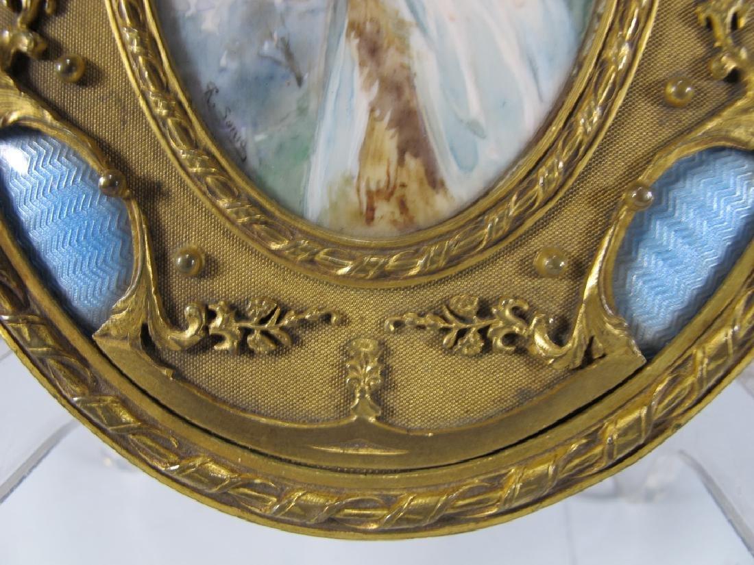 Antique French bronze & enamel miniature painting & - 4