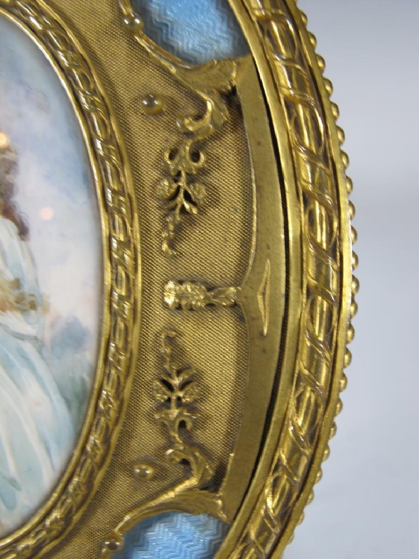 Antique French bronze & enamel miniature painting & - 5