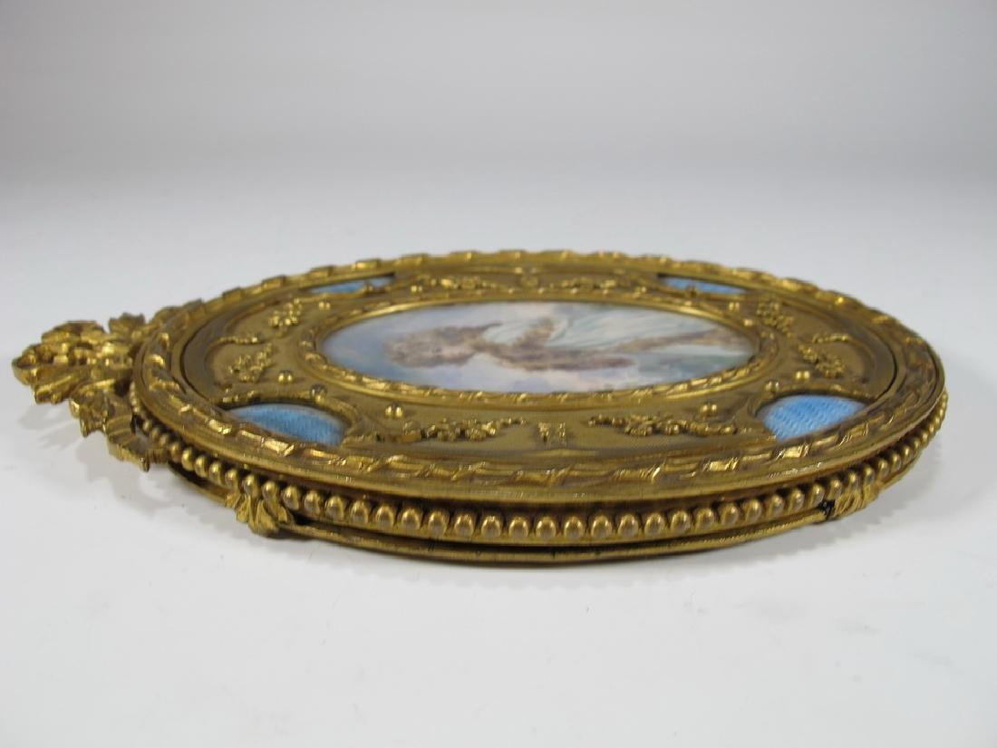 Antique French bronze & enamel miniature painting & - 8