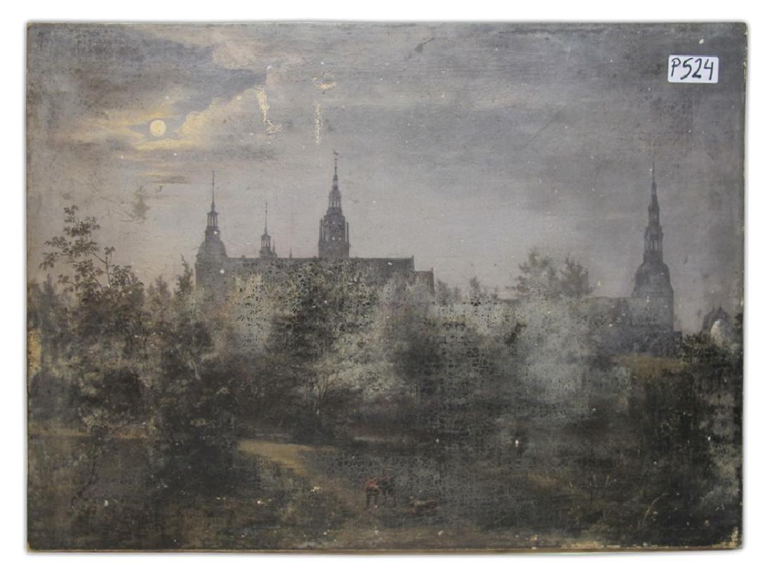 Antique European oil on canvas landscape painting