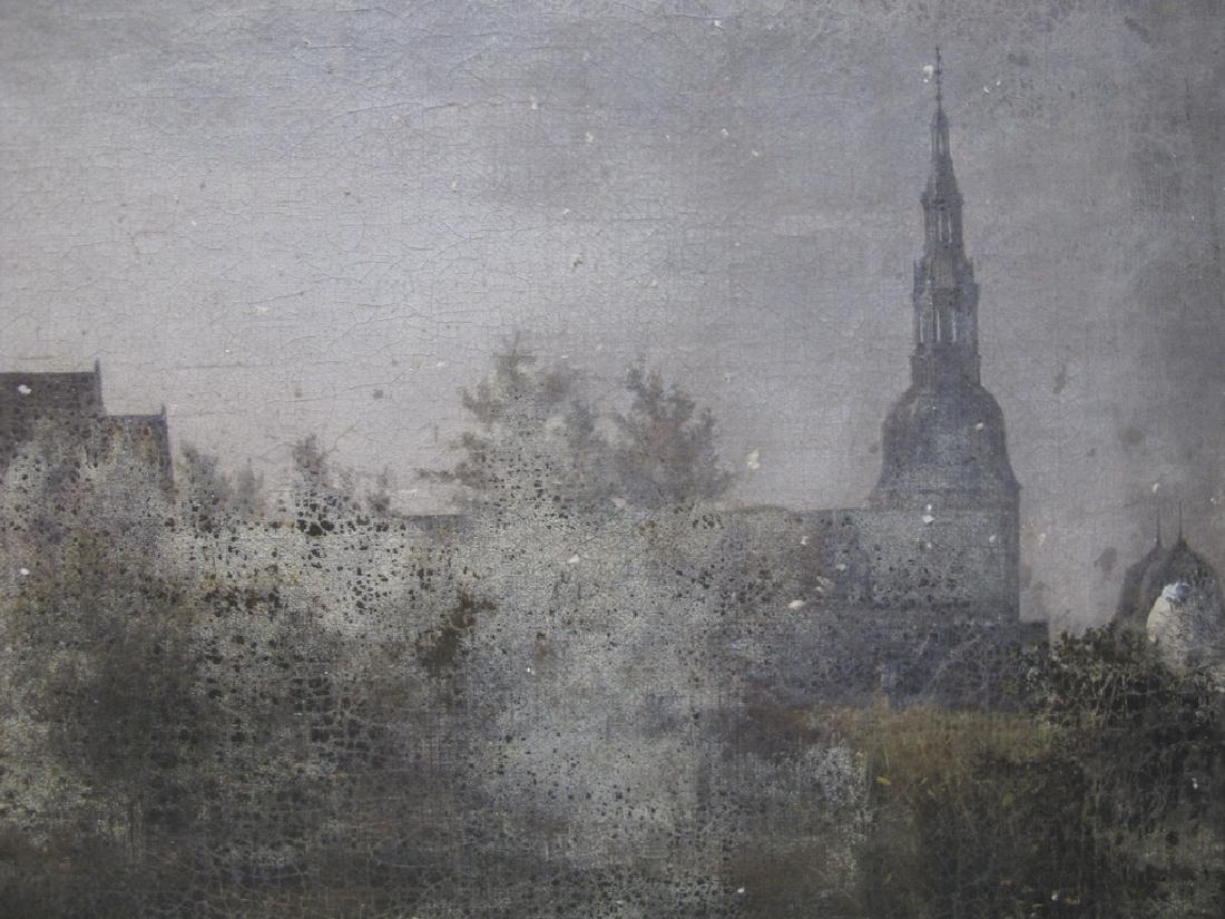 Antique European oil on canvas landscape painting - 4