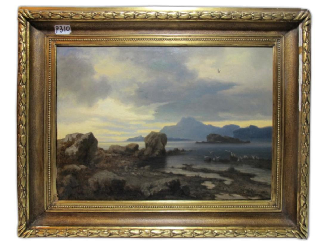 Antique European oil on canvas painting, 1862