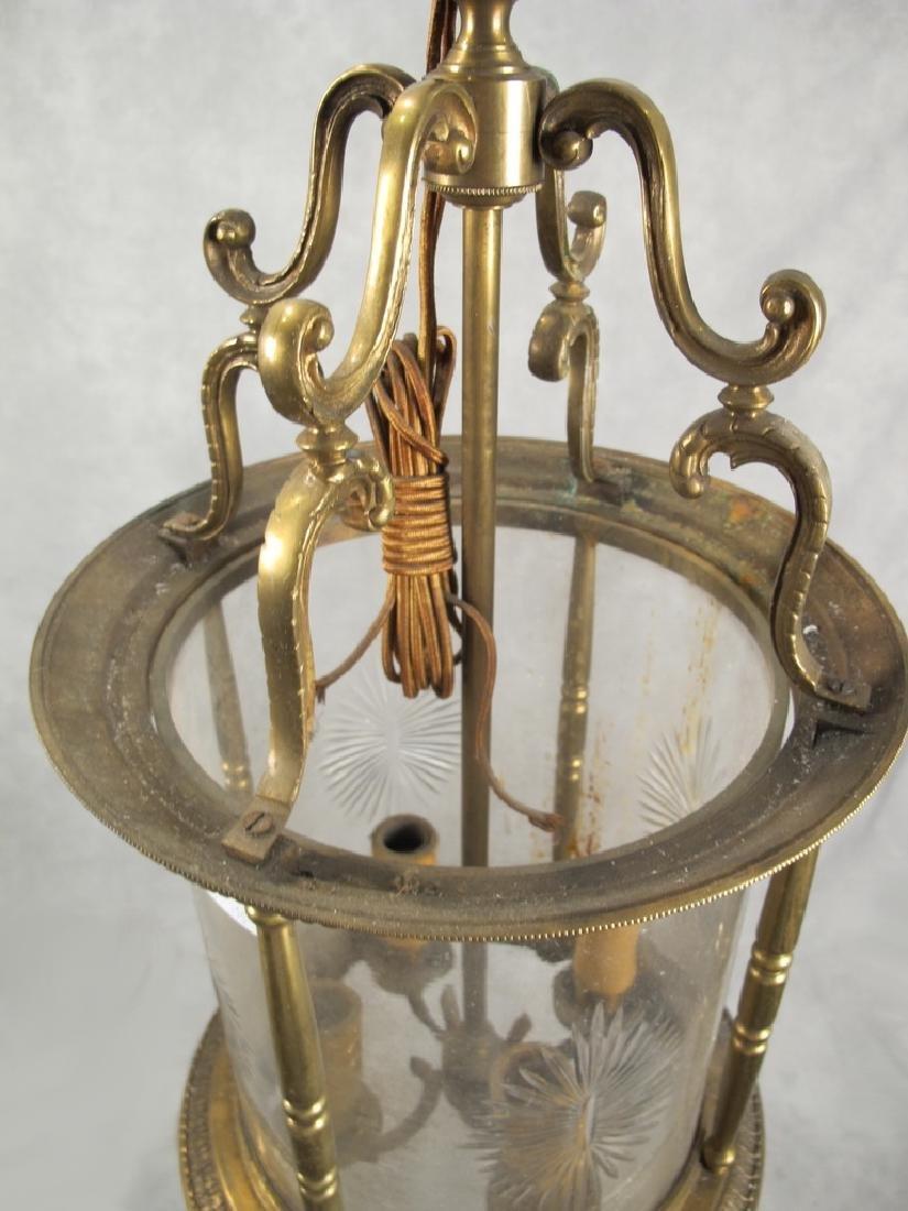 Antique French bronze & glass lantern - 2
