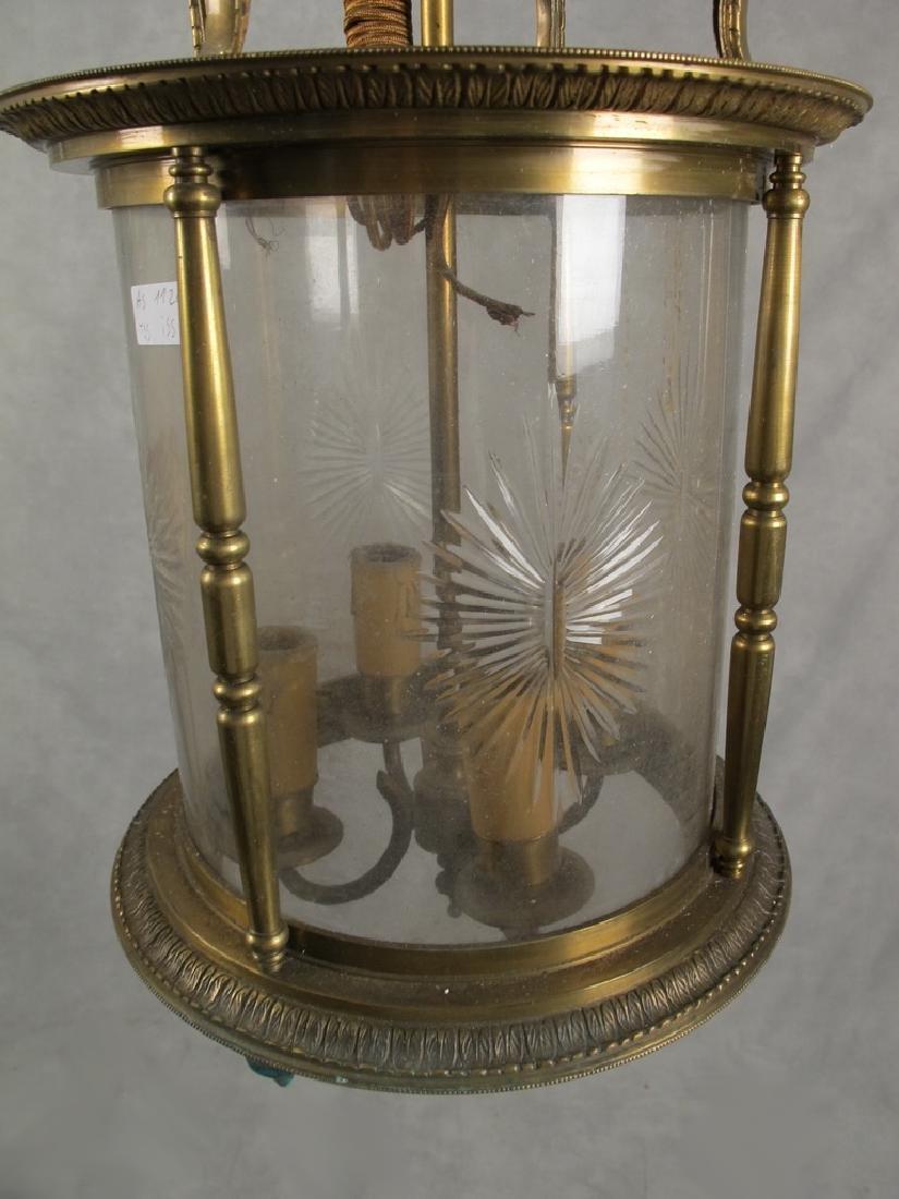 Antique French bronze & glass lantern - 3