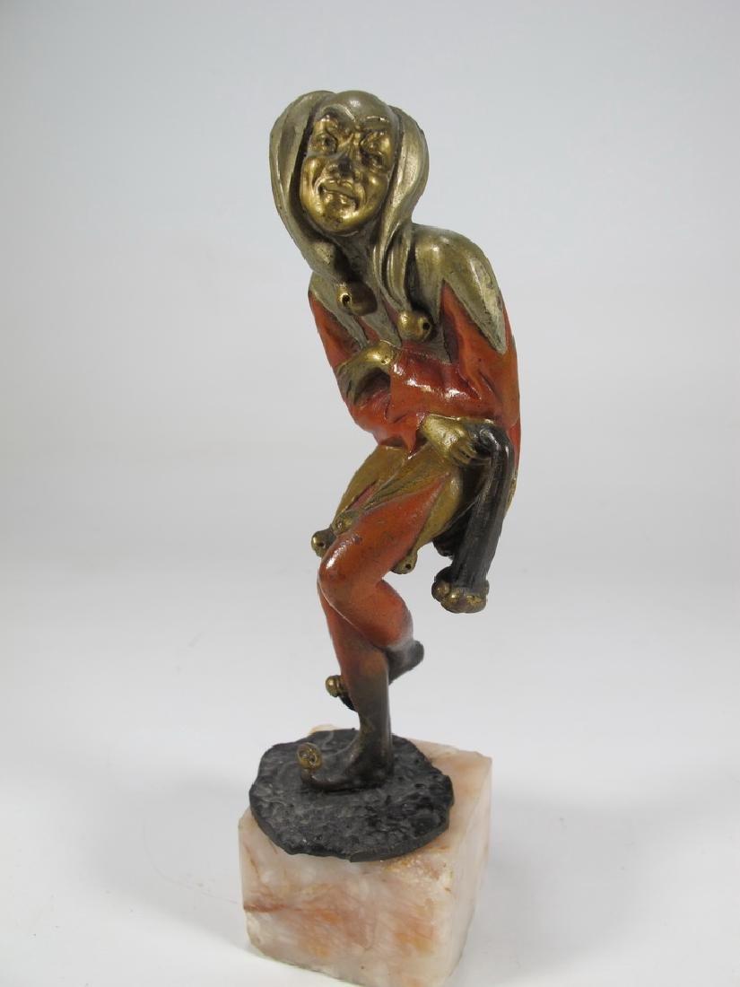 Antique French Arlekin bronze statue
