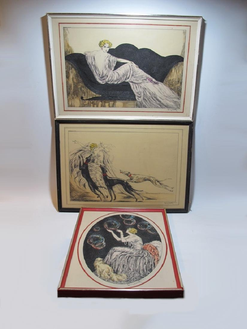 3 Louis ICART (1888-1950) engraving on resine repro