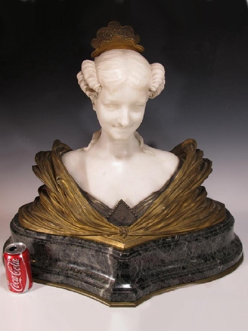 Dominique ALONZO (1910-1930) rare huge bronze & marble