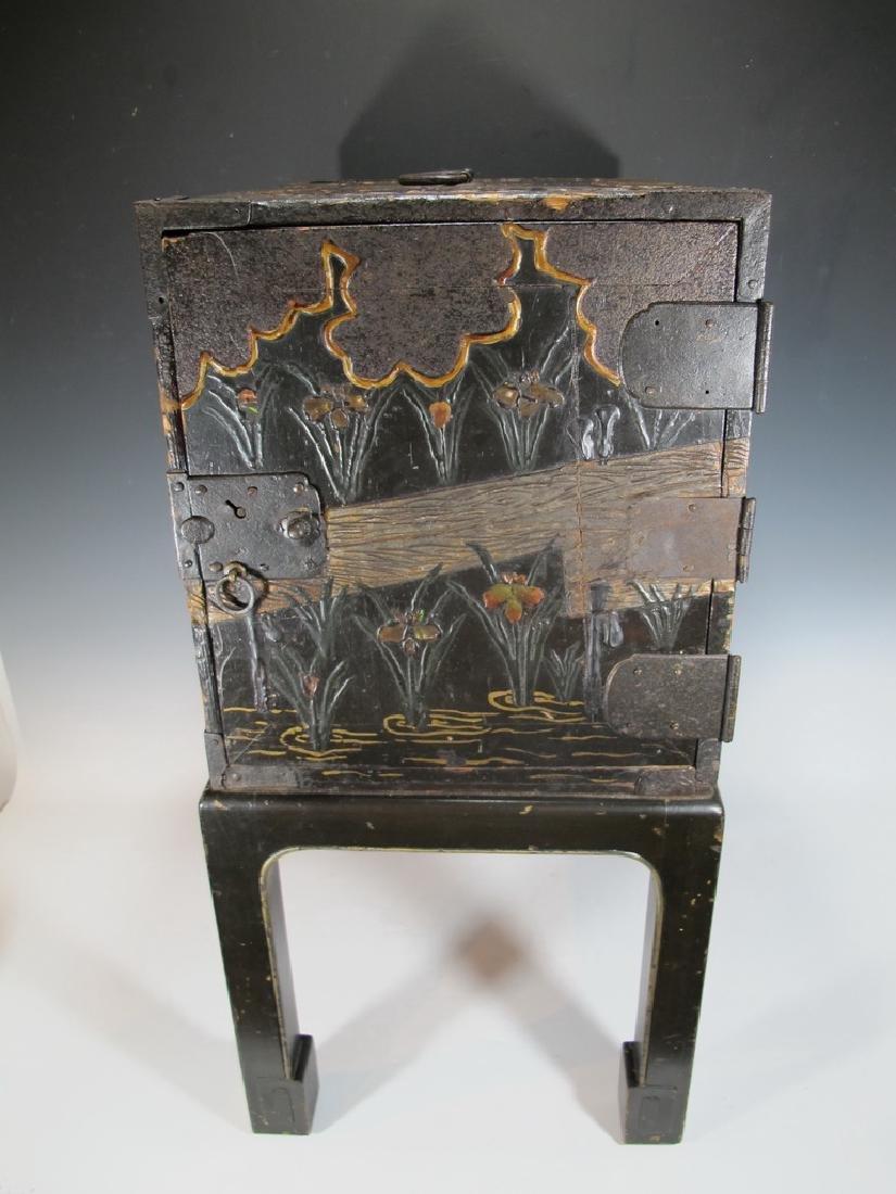 19th C Oriental black & iron small cabinet