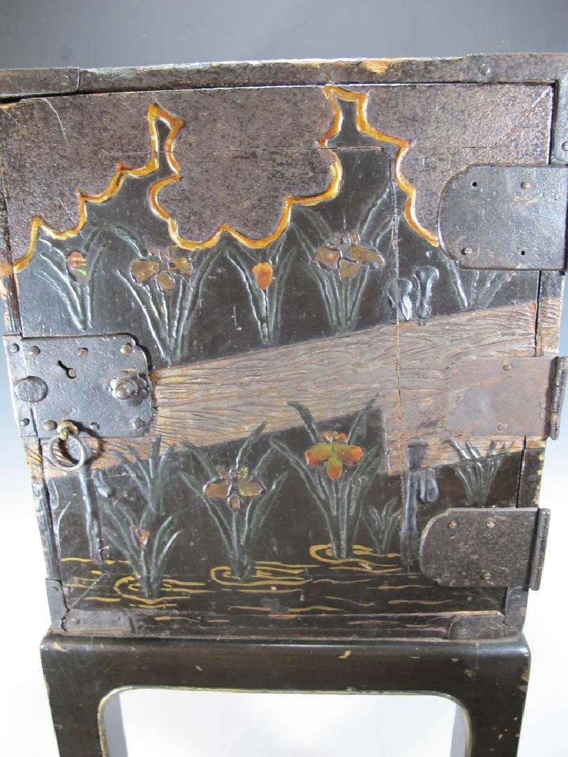 19th C Oriental black & iron small cabinet - 4