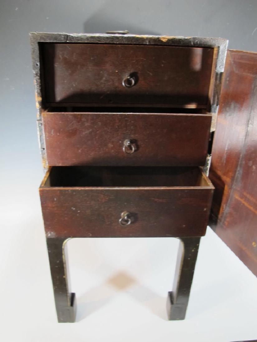 19th C Oriental black & iron small cabinet - 5
