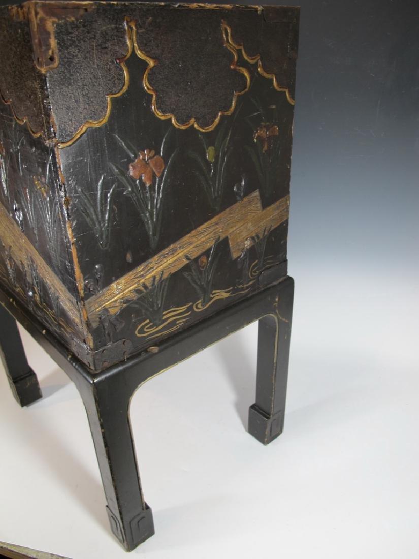 19th C Oriental black & iron small cabinet - 8