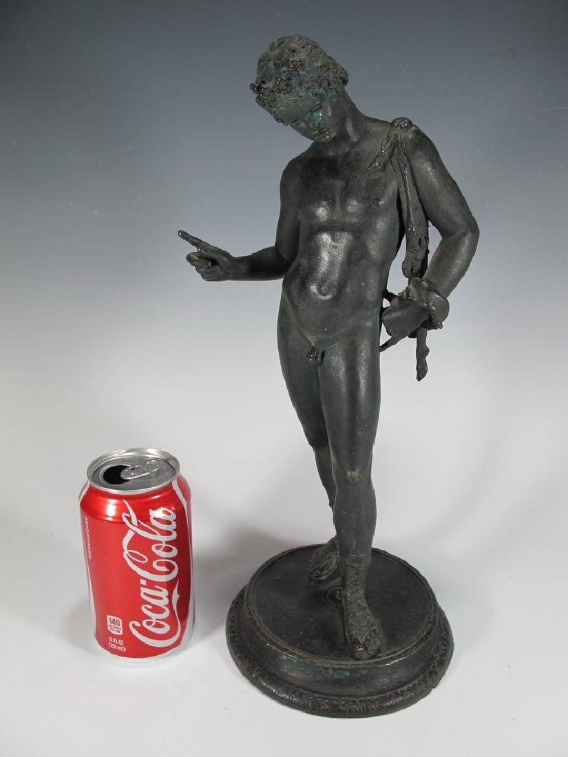 Antique European Narcissus nude bronze statue