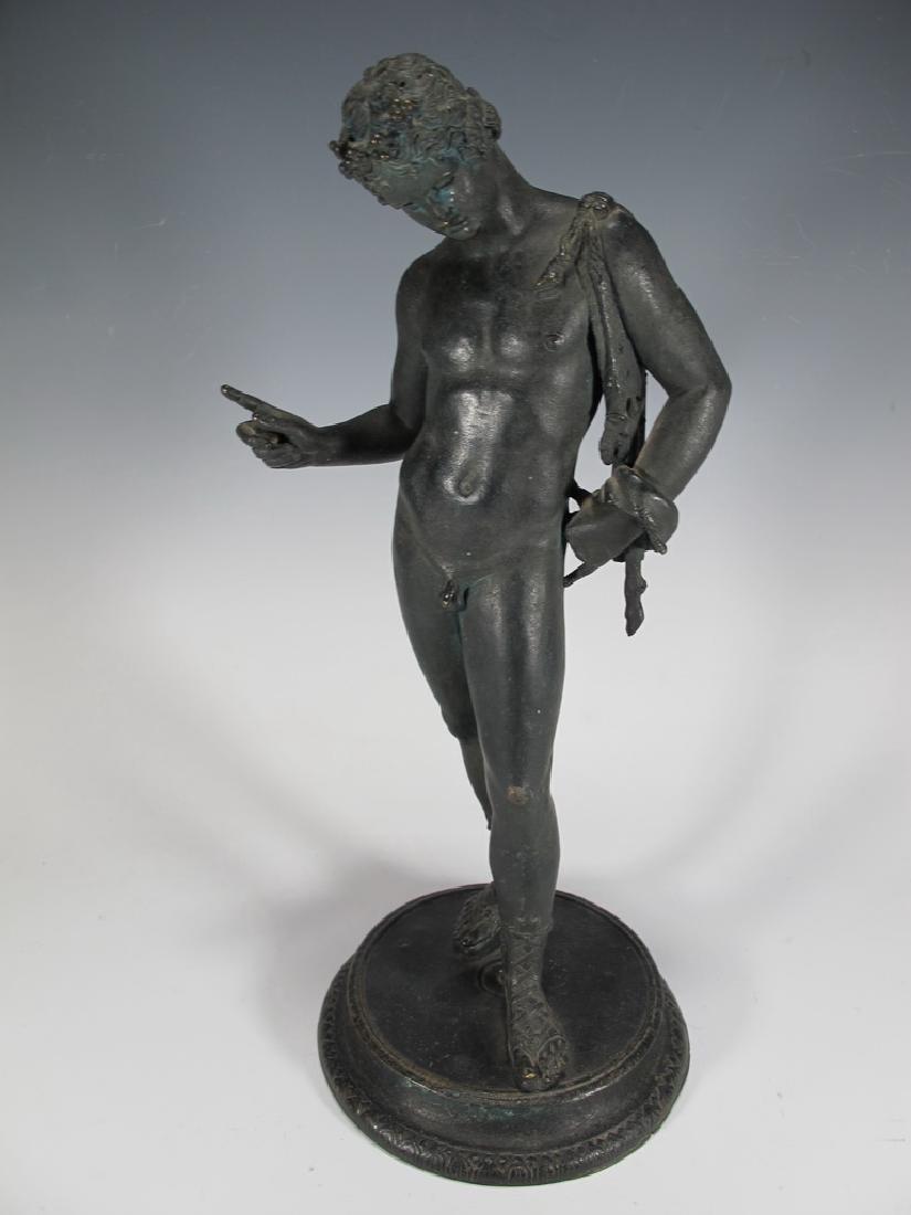 Antique European Narcissus nude bronze statue - 2
