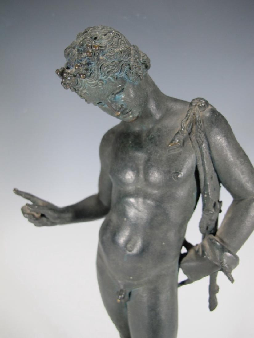 Antique European Narcissus nude bronze statue - 3