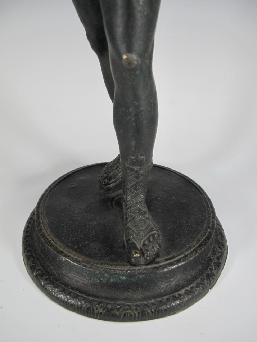 Antique European Narcissus nude bronze statue - 4