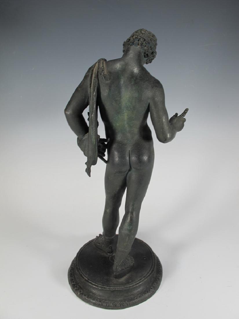 Antique European Narcissus nude bronze statue - 5