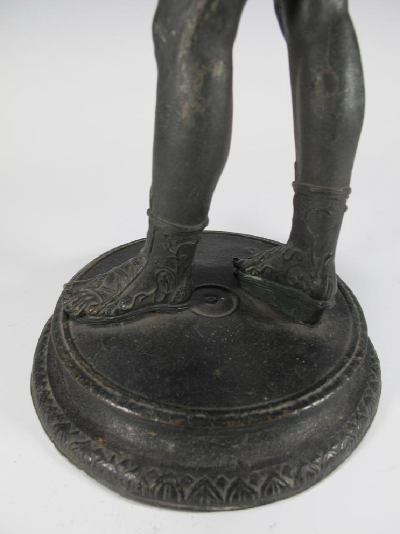 Antique European Narcissus nude bronze statue - 6
