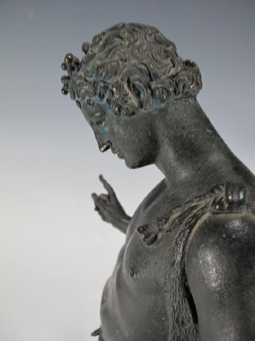 Antique European Narcissus nude bronze statue - 7